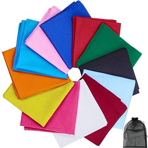 URATOT 12 Pieces Solid Colors Cotton Bandana Handkerchiefs Multifunction Headbands, Assorted 12 Colors