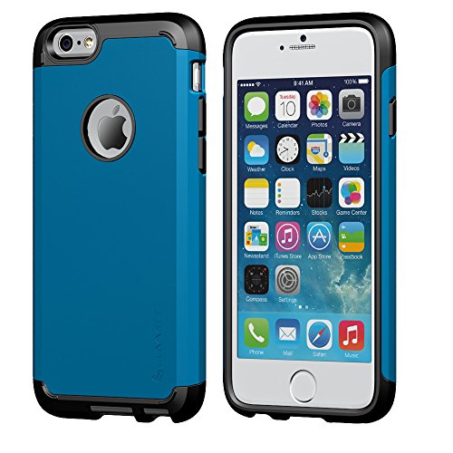 iPhone 6s Plus Case, LUVVITT [Ultra Armor] Shock Absorbing Case Best Heavy Duty Dual Layer Tough Cover for Apple iPhone 6/6s Plus Black/Metallic Blue