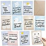 FÜR ZWILLINGE: 30+1 Meilenstein Foto- und Erinnerungs-Karten als Geschenk zur Geburt - mit Baby-Tagebuch, inkl. Geschenkbox und Glückwunsch-Karte - DIN A6