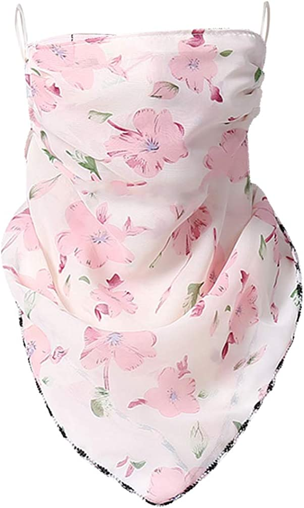KESYOO Scarf Floral Ear Loops Neck Gaiter Sun Protection Washable Mouth Neck Cover for Outdoors Walking Hiking Women