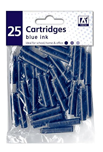 25 x Standard Sized Universal Blue Fountain Pen Ink Cartridge Refills