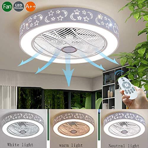 Deckenventilator Mit Beleuchtung Und Fernbedienung Neuer Stil LED Ventilator Deckenleuchte Innen Leise Lampe Moderne Deckenlampe Kinderzimmer Schlafzimmer Wohnzimmer Fan Lampe Kronleuchter