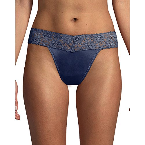 Maidenform Womens Dream Lace Thong Panty,Navy,Small/Medium