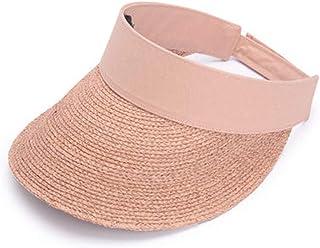 Lxrzls Diadema Sombrero para el Sol Hierba Visera Superior vacía Protector Solar Sombrero para la Playa Cara Ajuste Plegable (Color : Pink)