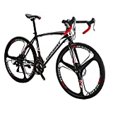 Road Bike LZ-550 Steel Bicycle 3 Spoke Wheels disc Brake 21 Speed Road Bike Black/White 49