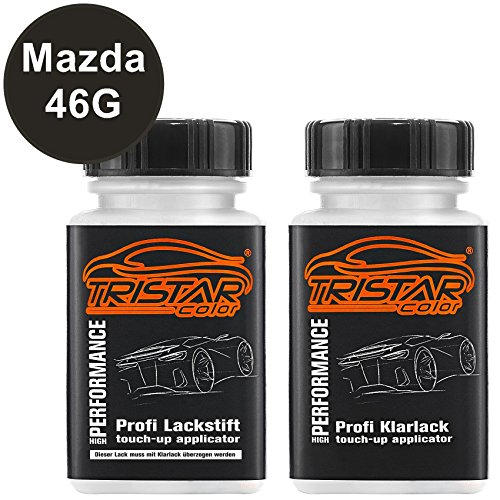 TRISTARcolor Autolack Lackstift Set für Mazda 46G Machine Grey Metallic Basislack Klarlack je 50ml
