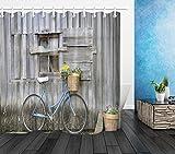 SHUHUI Duschvorhang-Haken, rustikales Holz, für das Fahrrad, wasserdicht, 183 x 183 cm