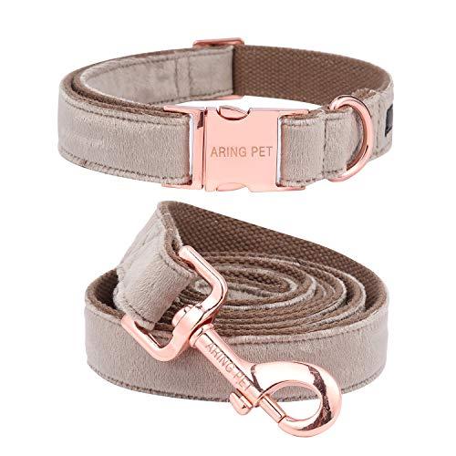 Aring Pet Hundehalsband und Leine, Samt, weich und bequem, verstellbare Halsbänder für Hunde, XS, braun