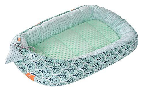 Babynest Kuschelnest Babynestchen 100% Baumwolle Nestchen Reisebett für Babys Säuglinge Medi Partners 90x50x13cm herausnehmbarer Einsatz (Wald mit minzer Minky)