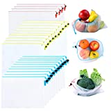 Mipruct 24 pack Reusable Produce Bags,Reusable produce bags for grocery,mesh bags See-Through and Washable Grogery Bags with 3 Sizes useful for storage fruits,vegetables,toys