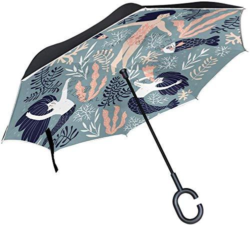 Meerjungfrauen und schwimmende Mädchen The Sea Double Layer umgekehrte Folding Stick Regenschirme Winddicht C-förmigen Griff für Auto Regen