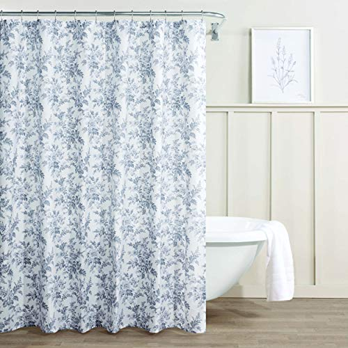 Laura Ashley - Cortina de Ducha (algodón, tamaño Mediano, 72 x 72 cm), Color Gris