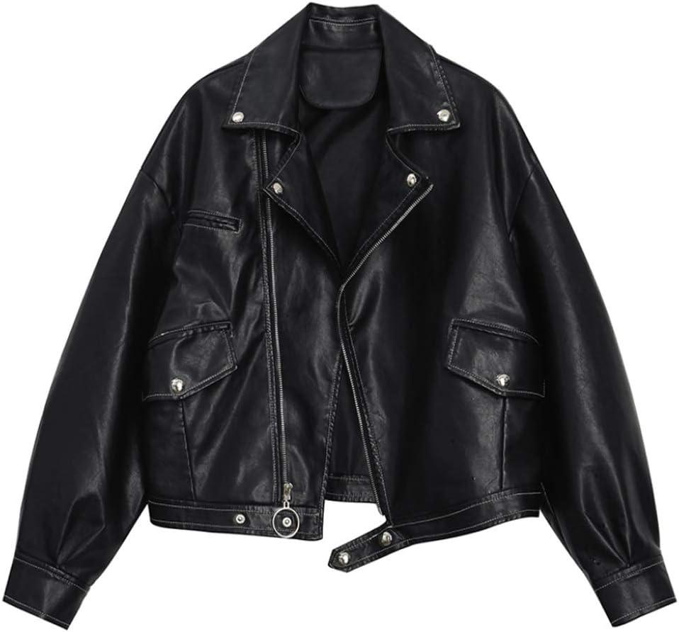 DJASM Fzwt Loose Leather Short Jacket, Lapel Long-Sleeved Women's Jacket, Fashionable Small Jacket (Color : B, Size : Large)