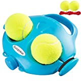 Meidong Tennis Trainer Rebounder with 4 Long Rope Tennis Trainer Rebound Balls, Tennis Practice Trainer for Kids Adults Beginners, Solo Tennis Training Equipment