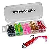 THKFISH 30pcs Cebos Artificiales de Pesca 5cm Pececillo Bait Suave con Cola Paddle Tail Artificiales Señuelos Pike Lure Swimbait