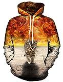 Idgreatim Juniors Mit Kapuze 3D Bedruckte Katze Lange ARmel Tasche Pullover Swearshirt Gross Gelb - Explosion Kat, L