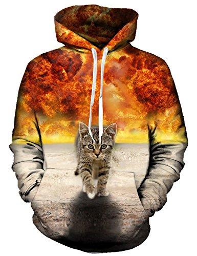 Idgreatim MäNner Hoodies 3D Bedruckte Katze Lange ÄRmel Tasche Pullover Swearshirt Xx-Large Gelb