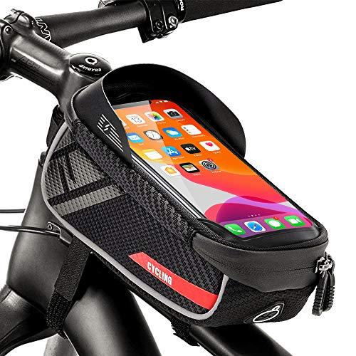 RIFNY Fahrrad Rahmentasche,Wasserdicht Mountainbike Tasche mit TPU Touchscreen, wasserdichte handyhalterung für Smartphone unter 6.7 Zoll und Kopfhörerloch Seite Öffnung
