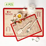4-Piece Silicone Baking Mat Set,1PCS 25'17-1/2' Pastry Mat&16-1/2'x11-5/8' Cookie Baking Mat,1Set Silicone Baking Brush &Spatula,Non-Stick, Heat-Resistant for Making Cookies/Bread/Pastry