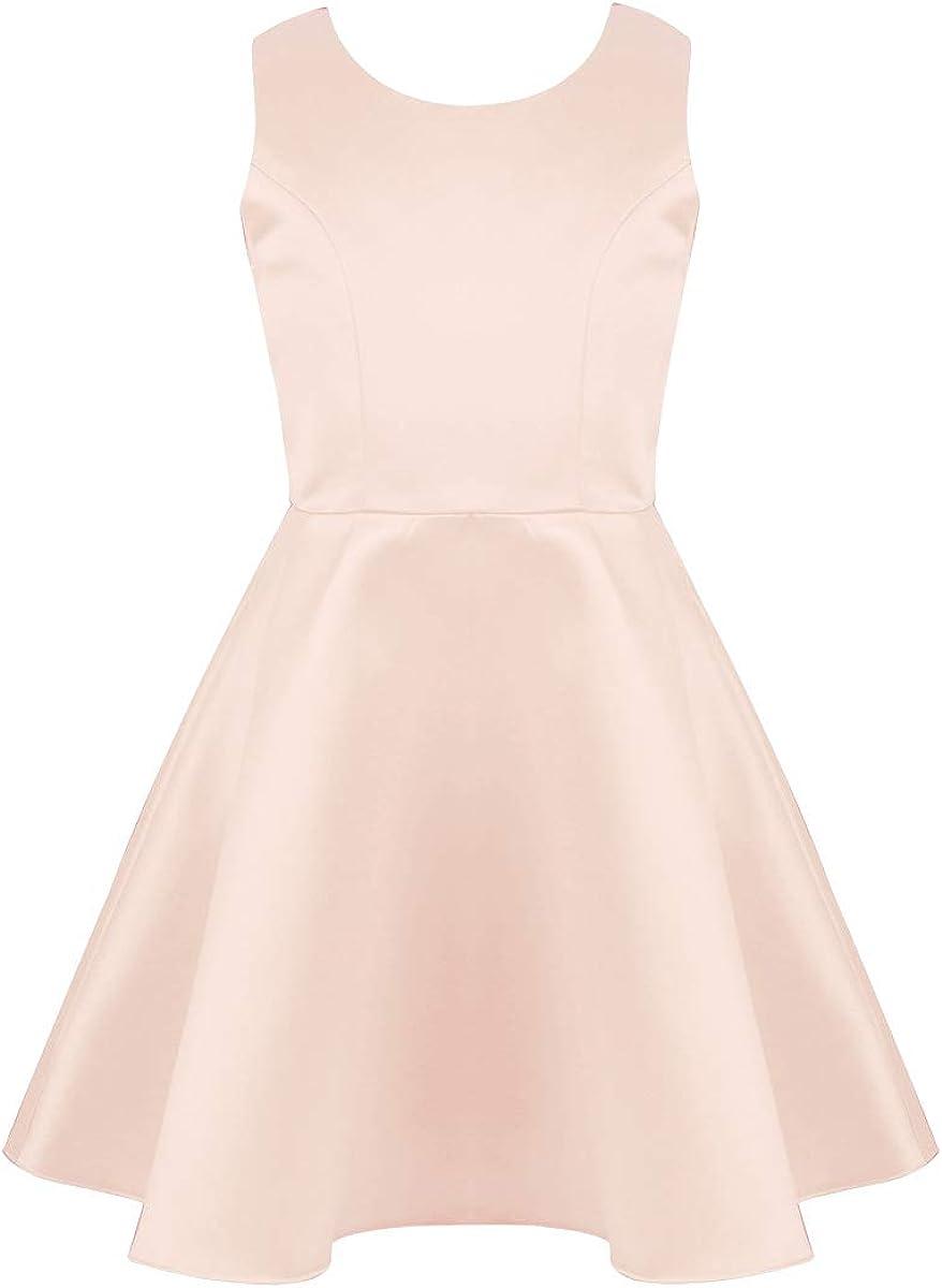 iEFiEL Kids Big Girls Satin Sleeveless V-Shaped Back Wedding Bridesmaid Party Flower Girl Dress