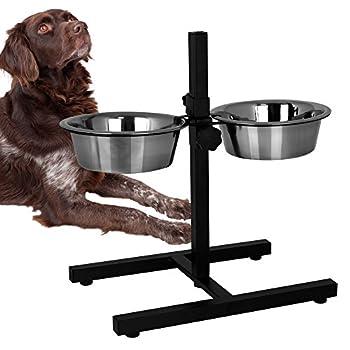 Bar à écuelles pour chien avec 2écuelles en acier inoxydable de 1,8L-Support pour écuelle-Ecuelle pour chien avec support