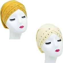 2 Packs Vrouwen Tulband Afrikaanse Patroon Knoop Headwrap Beanie Pre-Gebonden Motorkap Chemo Cap womens head wraps(Color:2)