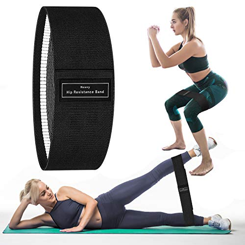 Portzon Resistance Loop Exercise Bands for Home Fitness Stretching Strength Training, Black