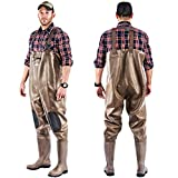 Chest Waders Waterproof Rubber Bootsfoot Durable Wader Overalls Pants for Fishing Hunting Heavy Duty Men Women Cleated or Felt Outsole (Brown, Cleated Size 10)