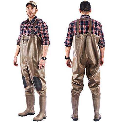 Chest Waders Waterproof Rubber Bootsfoot Durable Wader Overalls Pants for Fishing Hunting Heavy Duty Men Women Cleated or Felt Outsole (Brown, Cleated Size 11)