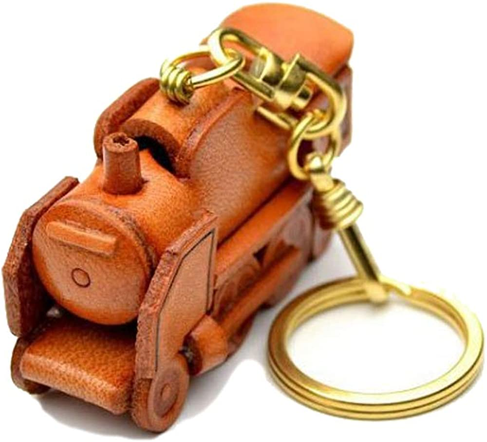 Steam Locomotive 3D Leather Vehicles Keychain(L) VANCA CRAFT-Collectible Keyring Charm Pendant Made in Japan