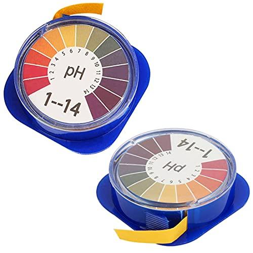 JZZJ Universal pH Testpapierstreifen pH Teststreifen Rolle, pH Wert Voller Bereich 0-14, 2 Rollen, 16.4 ft/Rolle