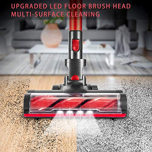 MOOSOO Cordless Vacuum Cleaner 17Kpa Strong Suction 2 in 1 Stick Vacuum Ultra-Quiet Handheld Vacuum with Brushless Motor Multi-attachments