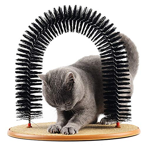 JUILE YUAN 4 in 1 Multifunction Self Grooming Cat Arch- Bristle Ring Brush and Carpet Base Groomer,...