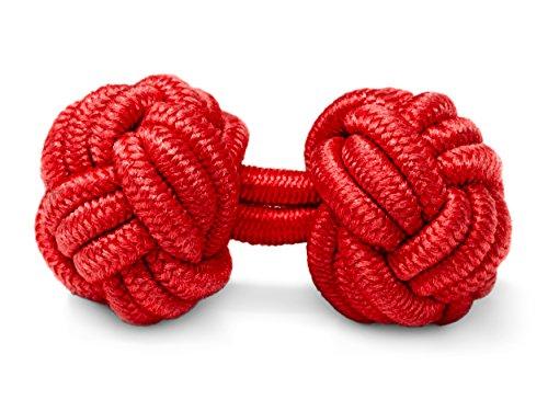 THE SUITS CREW Manschettenknöpfe Seidenknoten Herren Damen Nylon Stoff | Cufflinks Silk Knots für alle Umschlagmanschetten Hemden | Einfarbig (Rot)