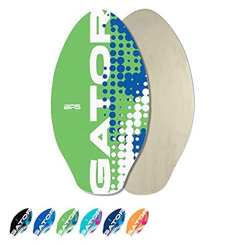 BPS 'Gator' 40 Inch No Wax Needed Skim Board - High Gloss Coated Wood Skimboard with EVA Pads - Skim Board for Beach or Flatland (Green)