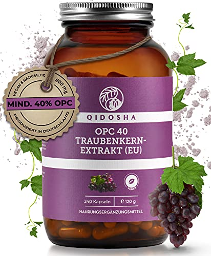 QIDOSHA® Premium OPC Traubenkernextrakt (EU) hochdosiert, 240 Stk, 800mg Extrakt mit 320mg reinem OPC je Tagesdosis, vegan, laborgeprüft