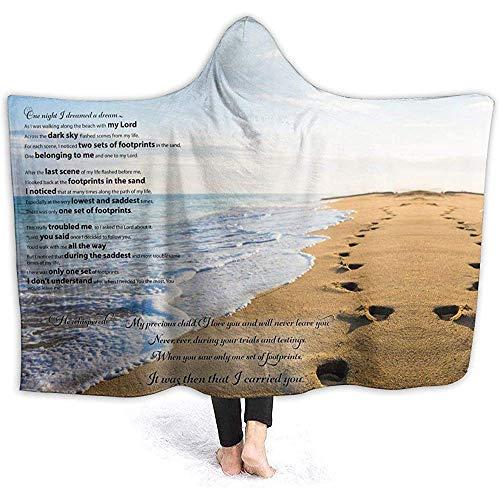 Manta con Capucha, Abrigo de Mantas para Tirar de la Capucha usable, Huellas en la Arena Poema Estampado Suave Manta para niños Regalo Cozy Magic Cloak