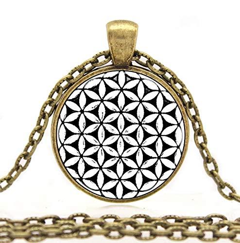 Herren Halskette Blume Des Lebens Samen Des Lebens Anhänger Halskette Mandala Sechseck Heilige Geometrie Schmuck Fleur De Vie Glas Cabochon Halskette