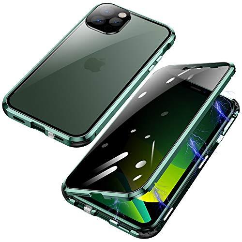 Jonwelsy Anti-Spy Funda para iPhone 12 Pro MAX, 360 Grados Proteccion Case, Privacidad Vidrio Templado Anti espía Cover, Adsorción Magnética Metal Bumper Cubierta para iPhone 12 Pro MAX (Verde)