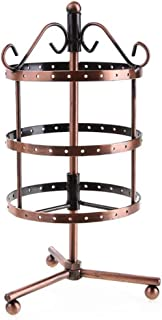 3-Tier 72 Holes Durable Round Jewelry Stand Rack Earrings Necklaces Display Rack Metal Rotating Jewelry Stand Holder Red