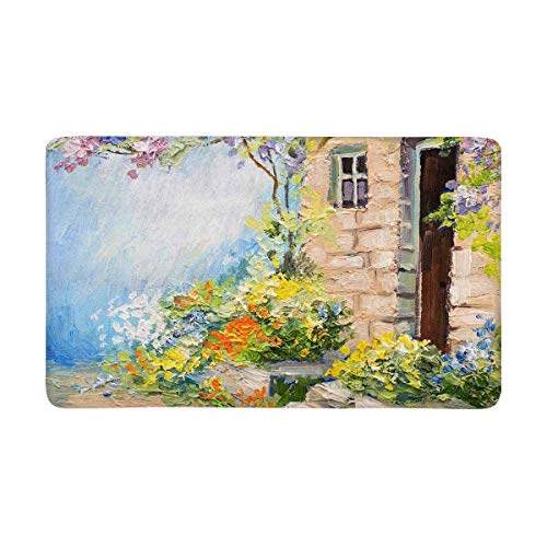 European Landscape Painting Summer Colorful Flowers In Garden Doormat Indoor Outdoor Entrance Rug Floor Mats Door Mat Non-Slip Home Decor, Rubber Backing Large 30'(L) X 18'(W) 16x24(IN)