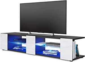 Vladon Meuble TV Armoire Basse Movie V2, Corps en Noir Mat/Façades en Blanc Haute Brillance avec l'éclairage LED en Bleu