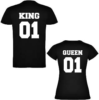 Pack de 2 Camisetas Negras para Parejas, King 01 Bold y Queen 01 Bold, Blanco