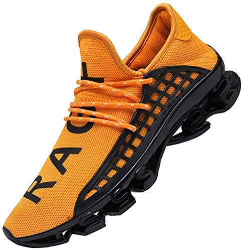CAGAYA Sportschuhe Herren Laufschuhe Sneaker Mesh Atmungsaktive Sport Damen Turnschuhe Freizeitschuhe Schuhe größe 36-48 (48 EU, Gelb)