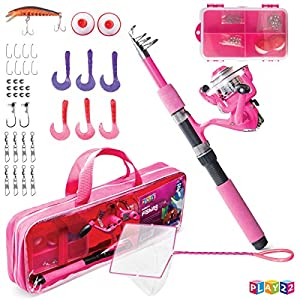 Play22 Kids Fishing Pole Pink - 40 Set Kids Fishing Rod and Reel Combos - Fishing Poles for Youth Kids Includes Fishing Tackle, Fishing Gear, Fishing Lures, Net, Carry On Bag, Fully Fishing Equipment