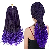 Goddess Senegalese Twist Crochet Hair with Curly Ends Wavy Box Braids Ombre Crochet Box Braids Hair Extensions 18 inch 5 Packs 30 Strands/Pack(1B/Purple)
