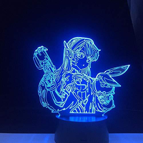 Juego Overwatch Dva Figura 16 Cambio de colores Led con pilas Decoración de fiesta en casa Luz de noche acrílica 3D Decoración del hogar-7_Color_No_Remote