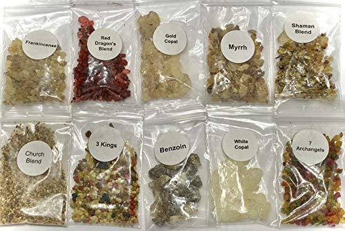 resin incense sampler set - 1/4 oz packs of most popular reins includes- dragon
