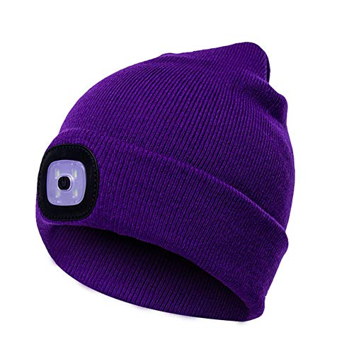 QUUY USB oplaadbare LED muts pet, unisex winterwarmer gebreide kap, LED hoofdlamp muts Bap, winter warme gebreide muts voor wandelen in de nacht, camping, dog walking, fietsen fit