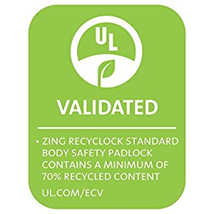 """ZING 7063 RecycLock Safety Padlock, Keyed Alike,1-1/2"""" Shackle, 1-3/4"""" Body, Red, 6 Pack"""
